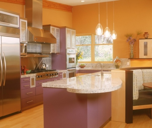 Contemporary Galley Style Burnt Orange kitchen, cabinets, $50,000  $