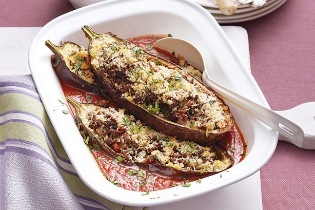 Veal and tomato stuffed eggplant | Beef recipes | Pinterest