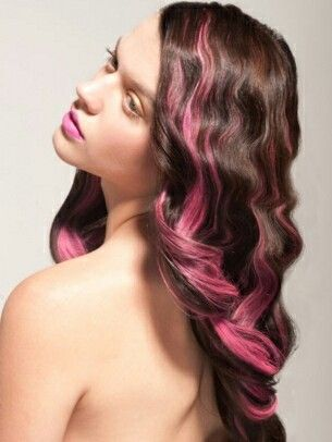 brown wavy hair with pink highlights | Hair colors | Pinterest