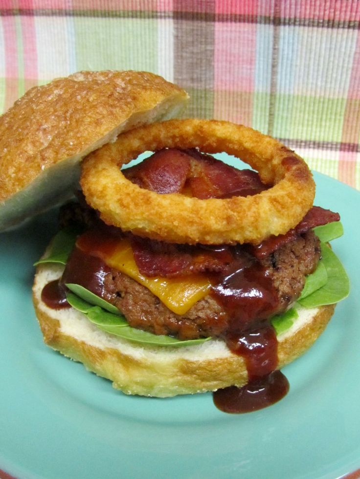 Onion Ring Topped BBQ Bacon Burger! Yum and hello...bacon and an onion ...
