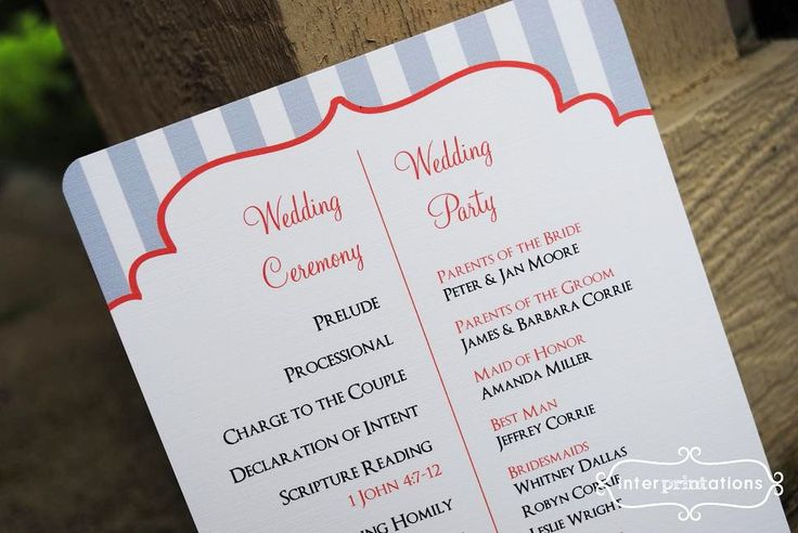 Simple Wedding Programs Examples