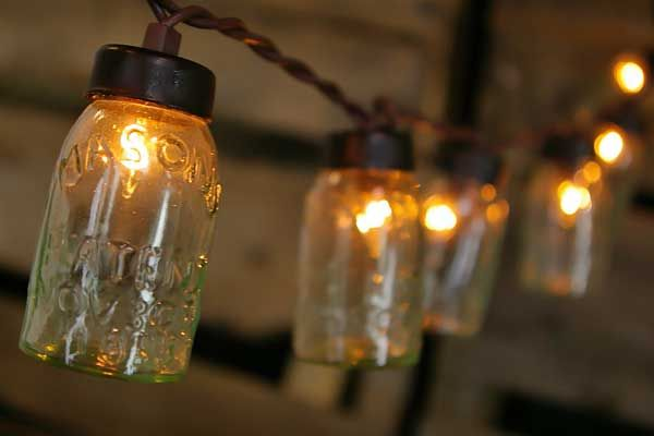 String Lights, 10 Mini Glass Mason Jars, Brown Wire, 4.5 ft., Plug In