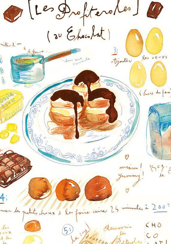 Keukenplaten : Profiteroles recipe print Kitchen art Food por lucileskitchen