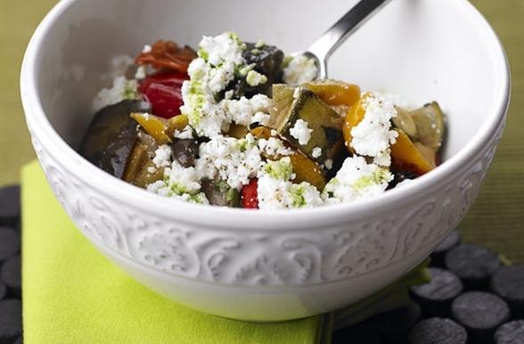 Legumes grelhados e confitados