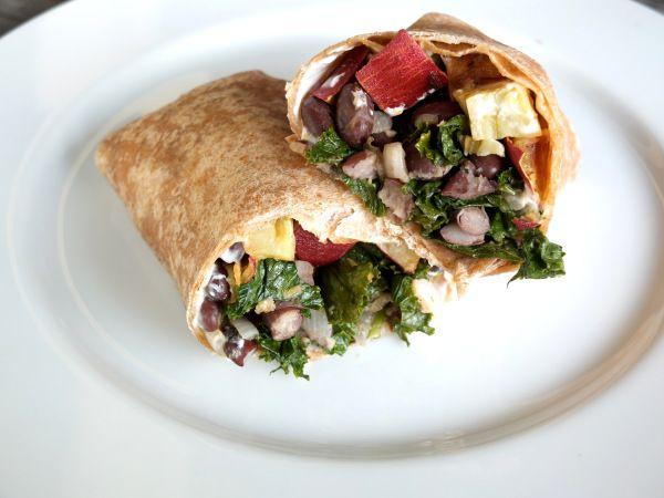 kale, black bean and sweet potato burrito recipe. I microwave (with ...