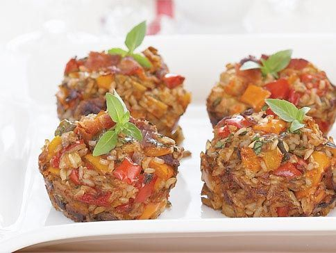Brown Rice Bacon Roast Veggie Stuffing in Muffin Cups. Great ...