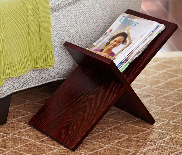 For simple magazine storage that's easy to make, build this solid-wood rack from a single board.