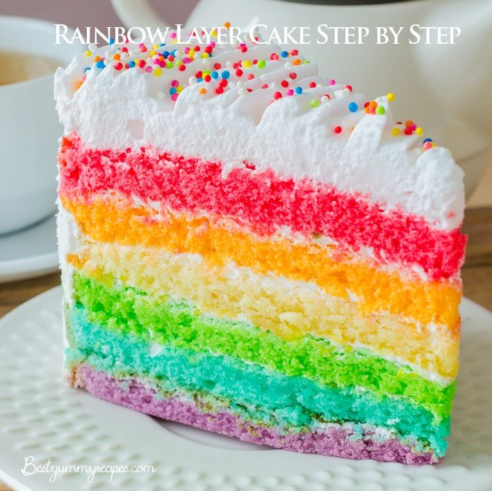 Cake Recipes With Step By Step Images : Rainbow Layer Cake Step by Step Recipes Pinterest