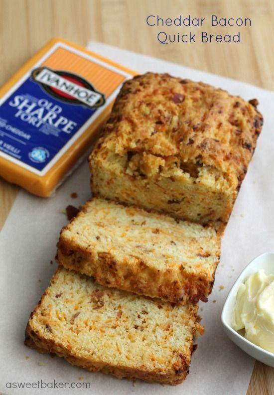 Cheddar Bacon Quick Bread | A Sweet Baker #Gay Lea Foods