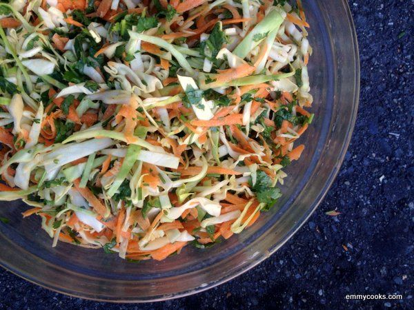 Spicy Cilantro Slaw with Carrots....one of my favorites of Jerry ...