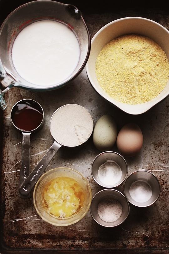ingredients & recipe for honey, buttermilk & cornmeal pancakes.
