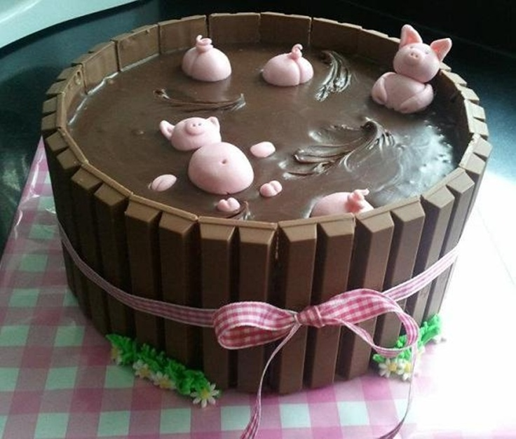 Pigs in Mud Cake with Kit Kats
