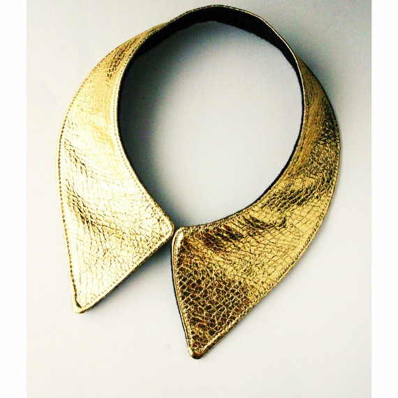Gold faux leather collar