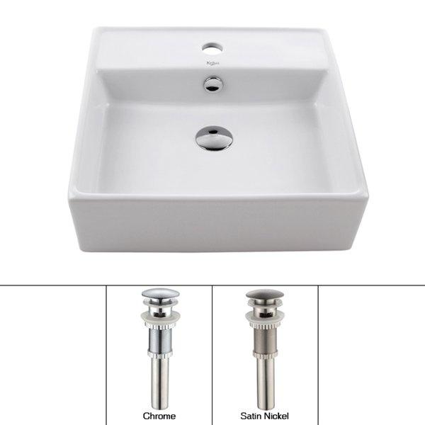 Square Vessel Sink White : Kraus KCV-150 White Square Ceramic Vessel Sink - Fixture Universe