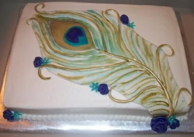 peacock sheet cake