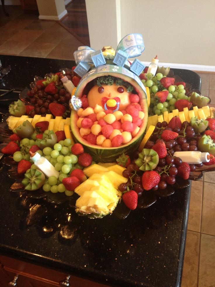 Baby shower fruit arrangement fruit arrangements pinterest for Baby shower fruit decoration ideas