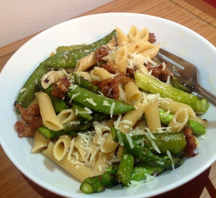 Penne with Spring Vegetables with Mild Johnsonville Sausage ...