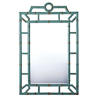 Bungalow Mirror - Chinese Elm (lacquered turquoise)