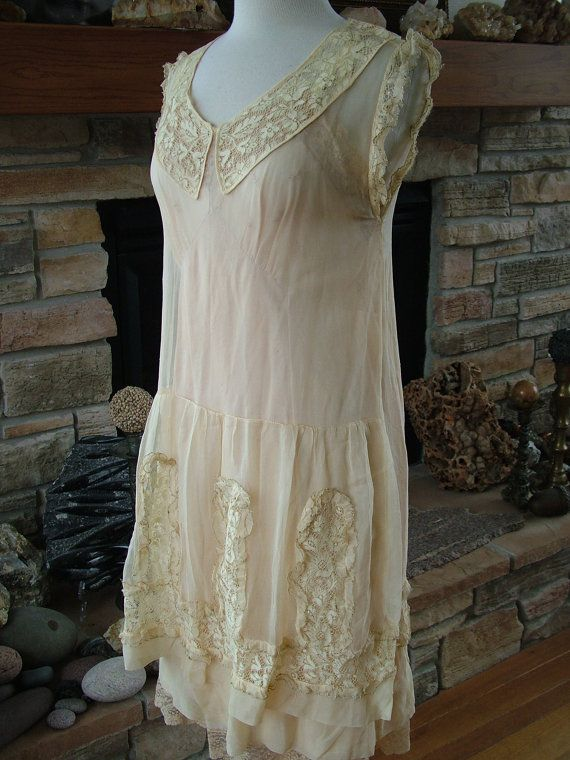 wedding dress 1920s vintage roaring twenties chiffon lace