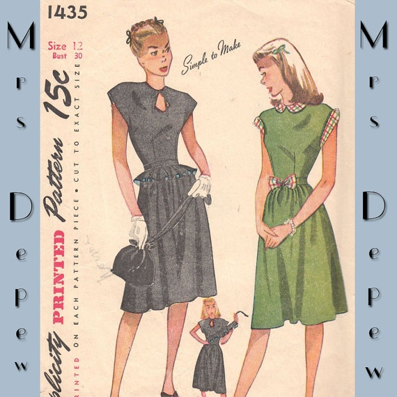 Vintage Sewing Pattern Ladies' Keyhole Dress with by Mrsdepew, $29.00