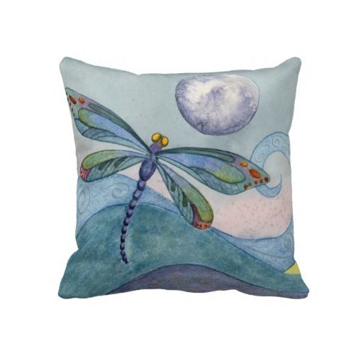 Throw Pillow With Dragonfly : Dragonfly and the Full Moon Throw Pillow Art Pinterest