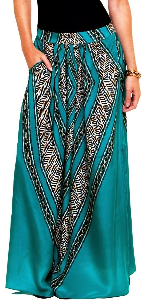 Cute Tribal Print Maxi Skirt