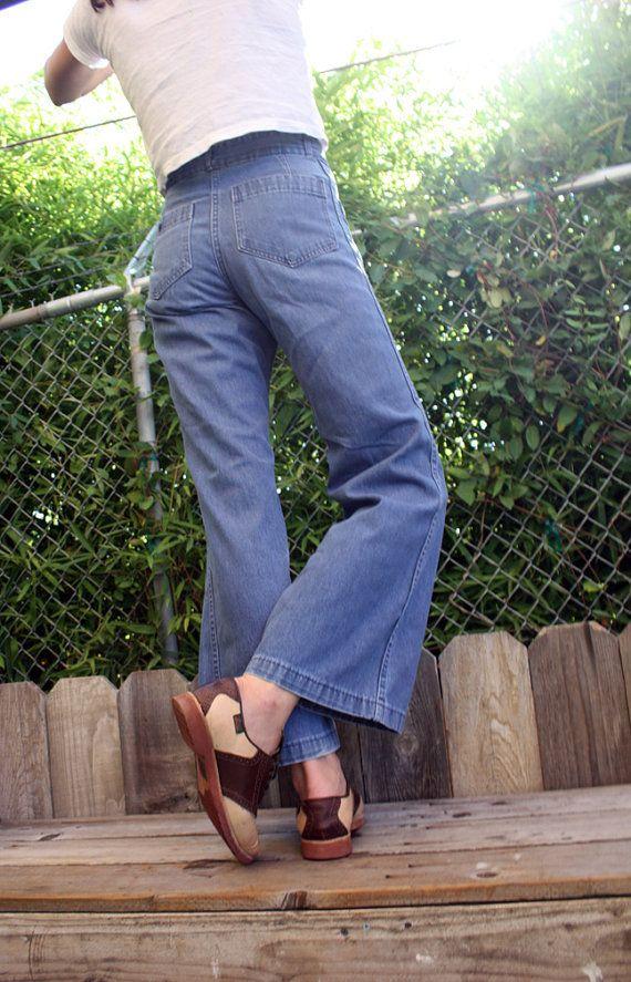 blue bird vintage bell bottom jeans soft by bowsandarrowsvintage, $32.00