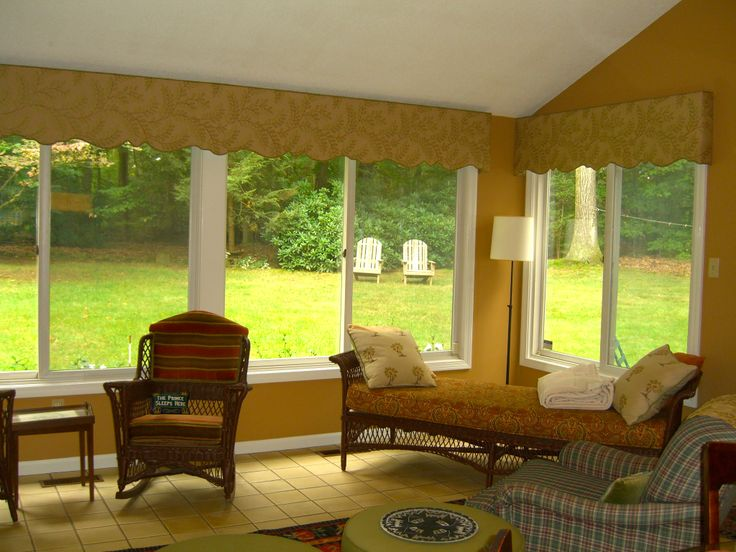 Sunroom cornices window treatments my work pinterest for Window covering ideas for sunrooms