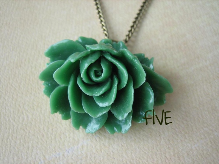 Green Ruffle Rose Cabochon Pendant on Antique Brass