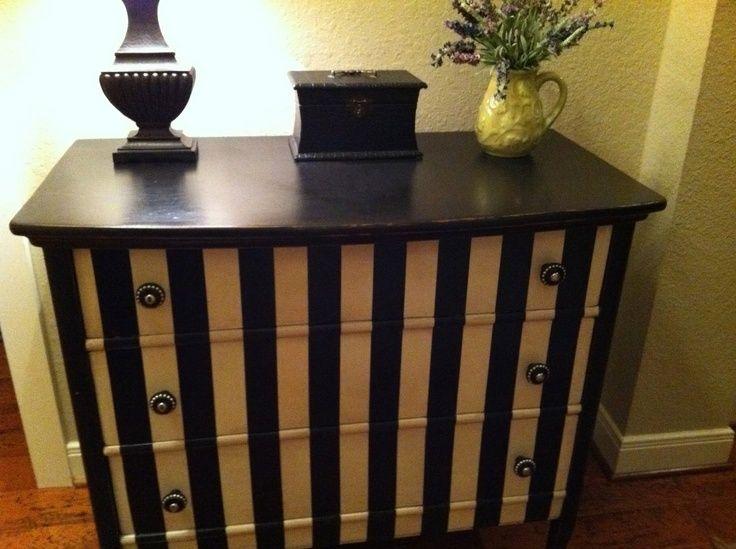 Striped painted furniture black stripes painted - Painting stripes on furniture ...