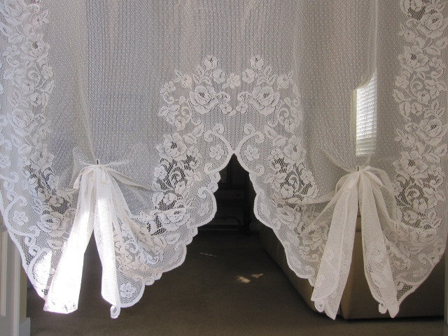 reduced vintage lace curtain white baroque floral lace