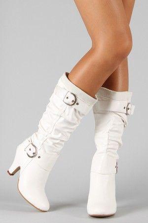 Pair of white boots pe 5 buckle sweater knee high boot urbanog com