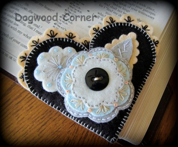 Felt Bookmark Heart Shaped Corner Bookmark by Dogwoodcorner, $6.00