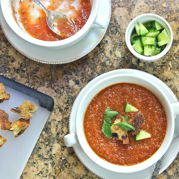 vegan gazpacho for hot summer lunch or dinner