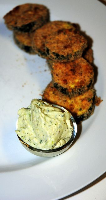 Oven Fried Zucchini Chips With Basil Dipping Sauce Recipe ...