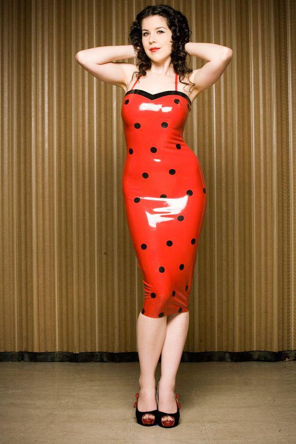 Red latex polka dot dress pinned up amp retro pinterest
