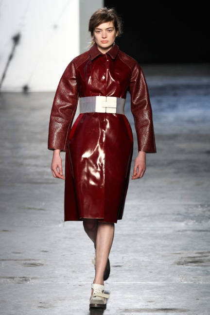 Oxblood coat on the runway at Acne F/W RTW 2012