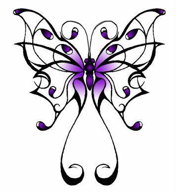butterfly tattoo; but, not in purple