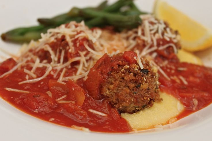 Oven baked meatballs and creamy polenta. | Food Recipes | Pinterest