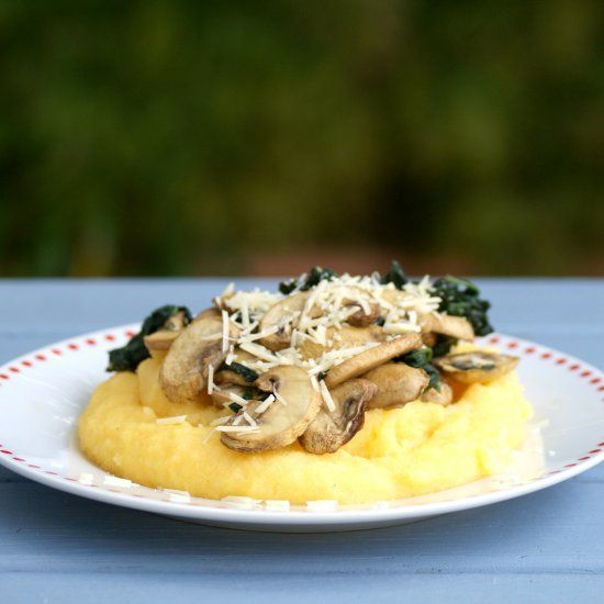 Creamy polenta with flavoursome roasted mushrooms topped with parmesan ...