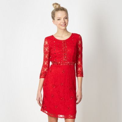 Red jewelled lace dress at debenhams com maidz pinterest