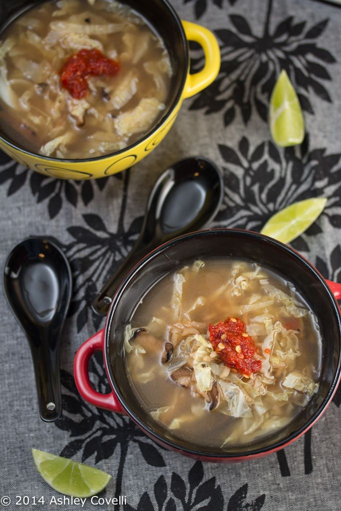 Hot and Sour Mushroom, Cabbage, and Rice Soup