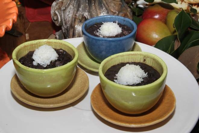 Abi's Black Beans are a Cuban-style bean dish served with rice.