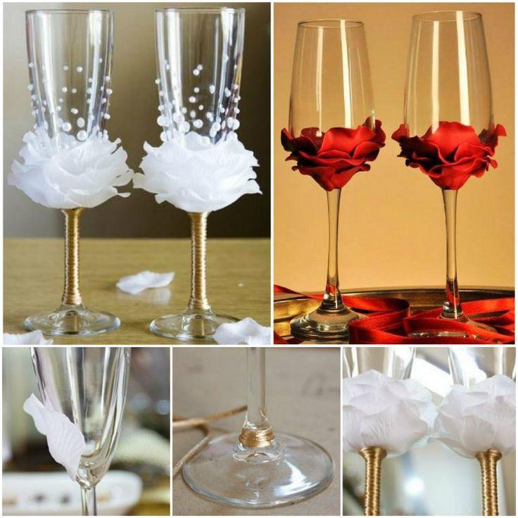 Как украсить бокалы на свадьбу своими руками пошагово 12