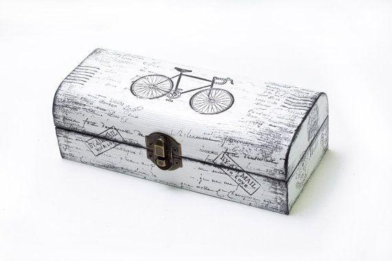 Blanco y negro apenada caja de madera, caja de Tesorería, caja de joyería, caja del organizador, caja angustiado, ohtteam