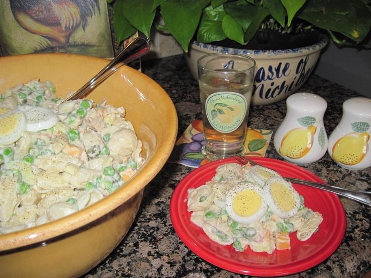 Summer Salad --- 1/2 lb. shell macaroni, cooked & drained, 2 c. tuna ...