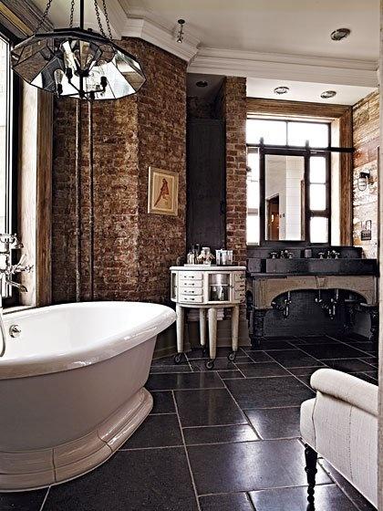 Brick wall in the bathroom the loo pinterest - Bathroom design nyc ...