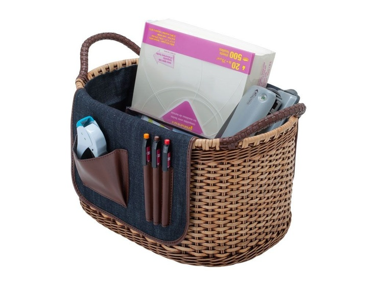 #Basket - Office Organizing Basekt $130 with FREE SHIPPING. Hand woven from Wicker with Denim Saddle including Utility Pockets. #baskets #organizing #office