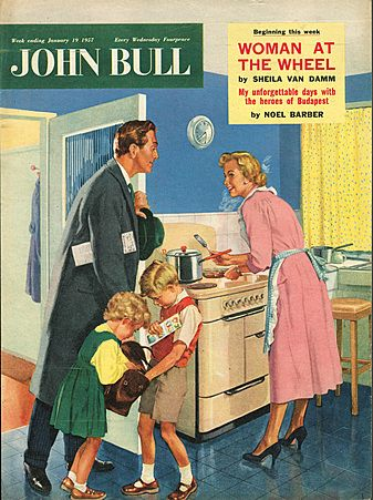 John Bull Magazine Cover Image Courtesy of The Advertising Archives: http://www.advertisingarchives.co.uk Vintage, illustrations, covers, artwork, Retro, British magazines, housewives, kitchens, cooking, iconic, children, food, husbands and wives, 1950s