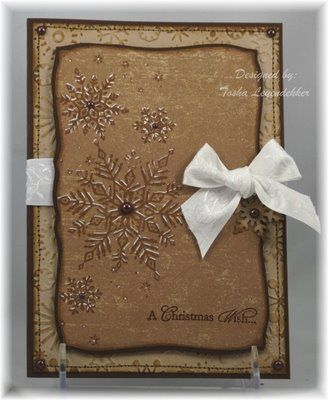 Stained & Embossed Snowflake Card...with a white bow.